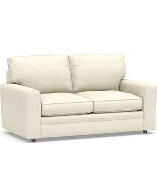 """Pearce Square Arm Upholstered Loveseat 62"""", Down Blend Wrapped Cushions, Premium Performance Basketweave Ivory"""