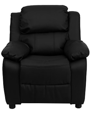 Flash Furniture Deluxe Contemporary Heavily Padded Leather Kids Recliner W/Storage Arms, Black