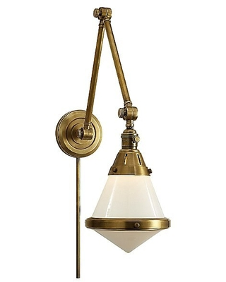 Gale Wall Sconce by Visual Comfort - Color: White - Finish: Brass - (TOB 2156HAB-WG)