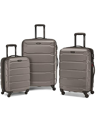 Samsonite Omni PC Hardside Expandable Luggage with Spinner Wheels, Silver, 3-Piece Set (20/24/28)