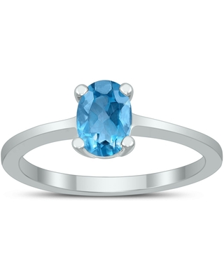 Oval Solitaire 7X5MM Blue Topaz Ring in 10K White Gold (10)