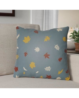 """The Holiday Aisle Falling Leaves Indoor/Outdoor Throw Pillow HLDY1190 Size: 20"""" H x 20"""" W x 4"""" D Color: Blue/Yellow/White"""