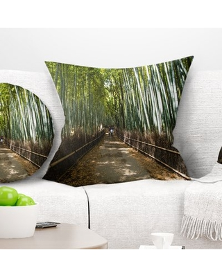 """Wide Pathway in Bamboo Forest Pillow East Urban Home Size: 18"""" x 18"""", Product Type: Throw Pillow"""