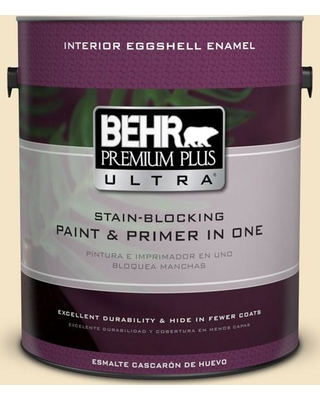 BEHR Premium Plus Ultra 1 gal. #340E-2 Cottonseed Eggshell Enamel Interior Paint and Primer in One
