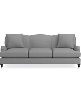 "Bedford 87"" Sofa, Down Cushion, Perennials Performance Canvas, Charcoal, Ebony Leg"