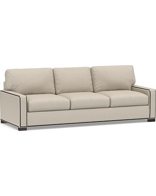 """Turner Square Arm Upholstered Grand Sofa 102"""" with Bronze Nailheads, Down Blend Wrapped Cushions, Performance Chateau Basketweave Oatmeal"""