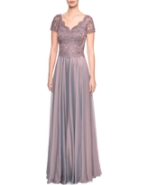 Women's La Femme Embroidered Lace & Chiffon A-Line Gown, Size 10 - Brown