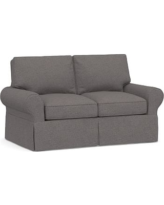 """PB Basic Slipcovered Loveseat 60"""", Polyester Wrapped Cushions, Brushed Crossweave Natural"""