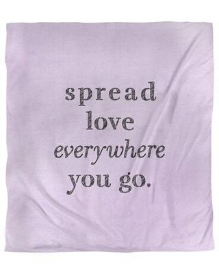 Spread Love Quote Single Duvet Cover East Urban Home Size: King Duvet Cover, Color: Purple/Black