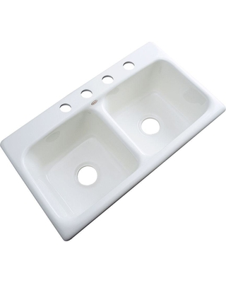 Thermocast Brighton Drop-in Acrylic 33 in. 4-Hole Double Bowl Kitchen Sink in White