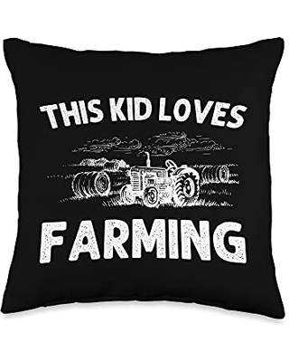 Best Tractor & Livestock Crop Husbandry Designs Funny Gift for Kids Boys Girls Farmer Tractor Farming Throw Pillow, 16x16, Multicolor