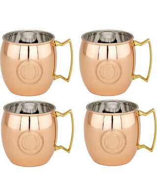 Old Dutch 16 oz. Solid Copper Moscow Mule Mugs and Monogram O (Set of 4)