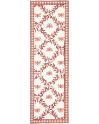 "Kinchen Hand-Hooked Wool Pink Area Rug August Grove Rug Size: Runner 2'6"" x 8'"