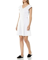 A X Armani Exchange Women's Cap Sleeve Jersey Fit and Flare Mini Dress, Off White, M