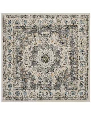 Safavieh Evoke Savoy 7 x 7 Gray/Gold Square Indoor Floral/Botanical Vintage Area Rug Polyester in Yellow   EVK220B-7SQ