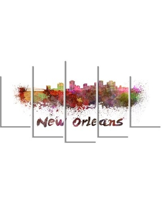'New Orleans Skyline' 5 Piece Wall Art on Wrapped Canvas Set Design Art