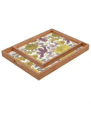"East Urban Home Just A Wish Serving Tray, Wood in Purple/Yellow, Size 1.25"" H x 12"" W x 12"" D 