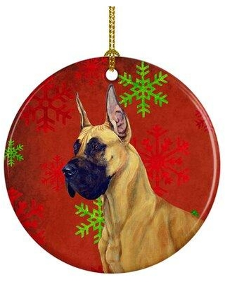 Shop The Holiday Aisle Great Dane Snowflake Holiday Christmas Ceramic Hanging Figurine Ornament Ceramic Porcelain In Red Brown Wayfair