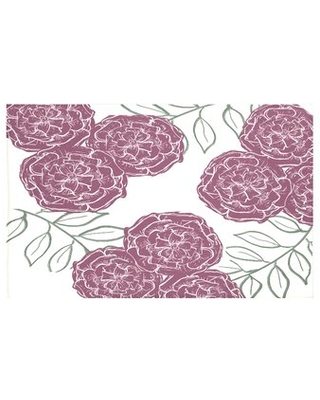 """Mums The Word Floral Print Throw Blanket e by design Size: 60"""" L x 50"""" W, Color: Passion Flower (Off White/Purple)"""