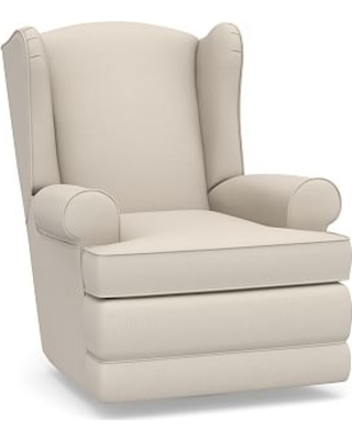 PB Wingback Roll Arm Upholstered Power Recliner, Polyester Wrapped Cushions, Performance Brushed Basketweave Oatmeal