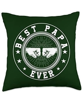 Father's Day Gift Co. Best Papa Ever Retro Fist Bump Grandpa Father's Day Gift Throw Pillow, 18x18, Multicolor