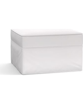 Pearce Slipcovered Grand Ottoman, Polyester Wrapped Cushions, Twill White
