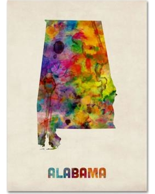 "Trademark Art 'Alabama Map' by Michael Tompsett Framed Graphic Art on Wrapped Canvas MT0344-C Size: 19"" H x 14"" W x 2"" D"