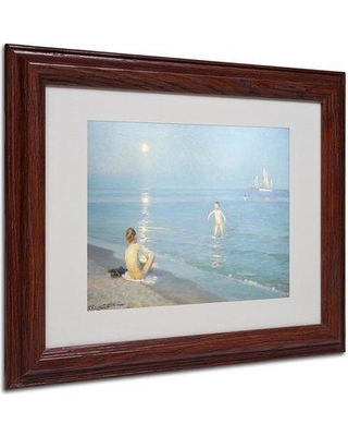 """Trademark Fine Art 'Boys on the Seashore in a Summer Night' Framed Print on Canvas BL01335 Size: 11"""" H x 14"""" W x 0.5"""" D Frame Color: Brown"""