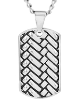 Crucible Men's Stainless Steel Woven Design Dog Tag Pendant, Silver/Black