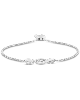 Jared The Galleria Of Jewelry Diamond Bolo Bracelet 1/3 ct tw Round Sterling Silver