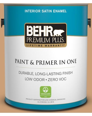BEHR PREMIUM PLUS 1 gal. #ICC-62 Pumpkin Butter Satin Enamel Low Odor Interior Paint and Primer in One