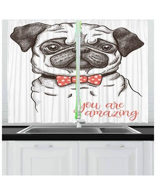 Pug 2 Piece Kitchen Curtain East Urban Home