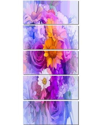 Design Art 'Rose Daisy and Gerbera Flowers' 5 Piece Painting Print on Wrapped Canvas Set PT14128-401V