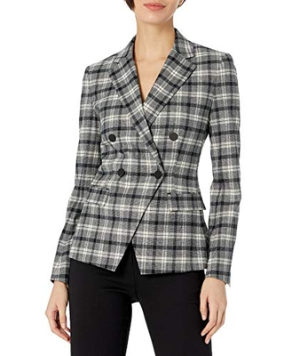 Theory Women's Double Breasted Angled Jacket Yukon Flannel, Black Multi, 2