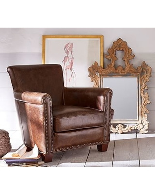 Amazing Deal On Irving Roll Arm Leather Armchair With Bronze ...