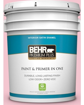 BEHR Premium Plus 5 gal. #120B-4 Old Fashioned Pink Satin Enamel Low Odor Interior Paint and Primer in One