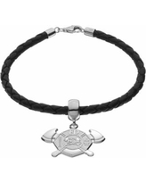 """""""Insignia Collection Sterling Silver and Leather Maltese Cross and Axe Charm Bracelet, Women's, Size: 7.5"""""""""""