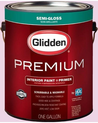 Glidden Premium 1 gal. #HDGR03U Frosted Pink Semi-Gloss Interior Paint with Primer