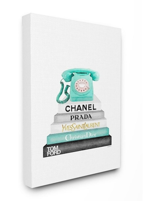 """24 in. x 30 in. """"Grey Teal and Black Fashion Bookstack with Teal Phone"""" by Amanda Greenwood Canvas Wall Art, Multi-Colored"""