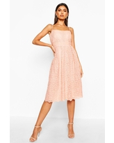 Womens Boutique Embroidered Strappy Midi Skater Dress - Pink - 6
