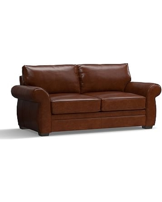 """Pearce Leather Sofa 81"""", Down Blend Wrapped Cushions, Leather Statesville Molasses"""