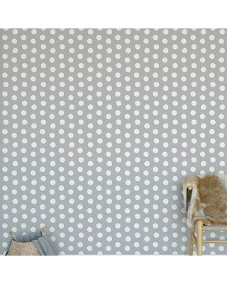"KAVKA DESIGNS Polka Dots Peel and Stick Wallpaper Panel WALL-1811-24X48-BBA6954 Color: Gray Size: 2"" W x 8"" L"