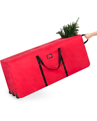 Best Choice Products Rolling Duffle Holiday Decoration Storage Bag for 9ft Christmas Tree w/ Wheels, Handle - Red