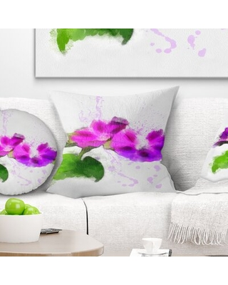 Floral Stem of Convolvulus Flower Drawing Pillow