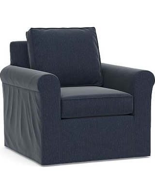 Cameron Roll Arm Slipcovered Swivel Armchair, Polyester Wrapped Cushions, Sunbrella(R) Performance Chenille Indigo