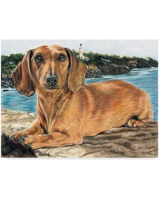 "Trademark Art 'Dachshund in The Bay' Oil Painting Print on Wrapped Canvas ALI25069-CGG Size: 24"" H x 32"" W"