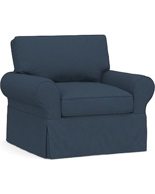 PB Basic Slipcovered Armchair, Polyester Wrapped Cushions, Brushed Crossweave Navy