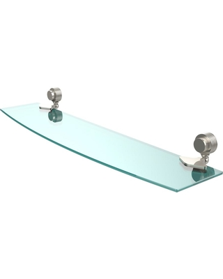 Allied Brass Venus 24 in. L x 2 in. H x 5 in. W Clear Glass Bathroom Shelf with Groovy Accents in Polished Nickel