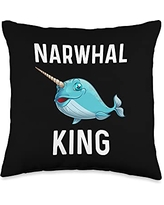 Best Narwhale & Canine Mammal Zoo Species Designs Funny Narwhal Gift For Men Grandpa Whale Fish Ocean Animal Throw Pillow, 16x16, Multicolor
