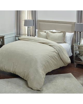 Rizzy Home Stone Solid Pattern King Linen Duvet Bedding, Multi